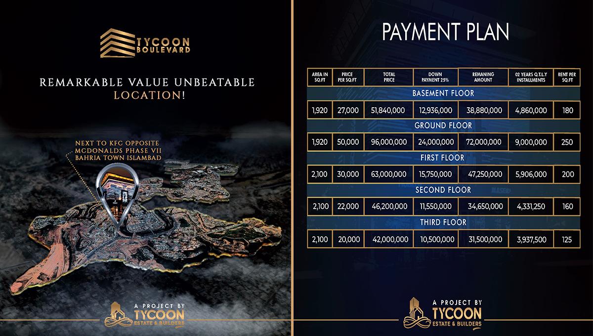 Tycoon-Boulevard-Bahria-Town-Rawalpindi-Payment-Plan